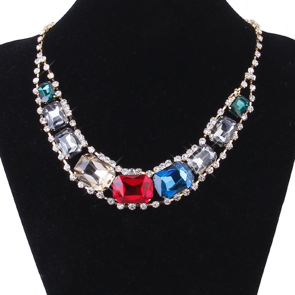 Colorful Crystal Rhinestone Bib chain Statement Choker Collar Necklace