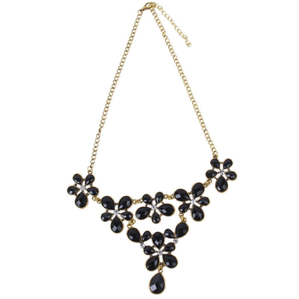 Lady Black Rhinestone Flower Pattern Fake Collar Chain Choker Necklace