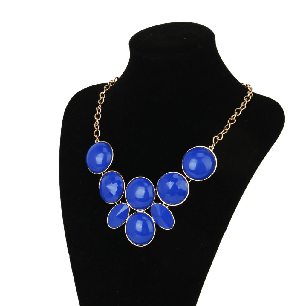 Fashion Womens Chunky Bubble Bib Statement Party Collar Choker Necklace - Blue