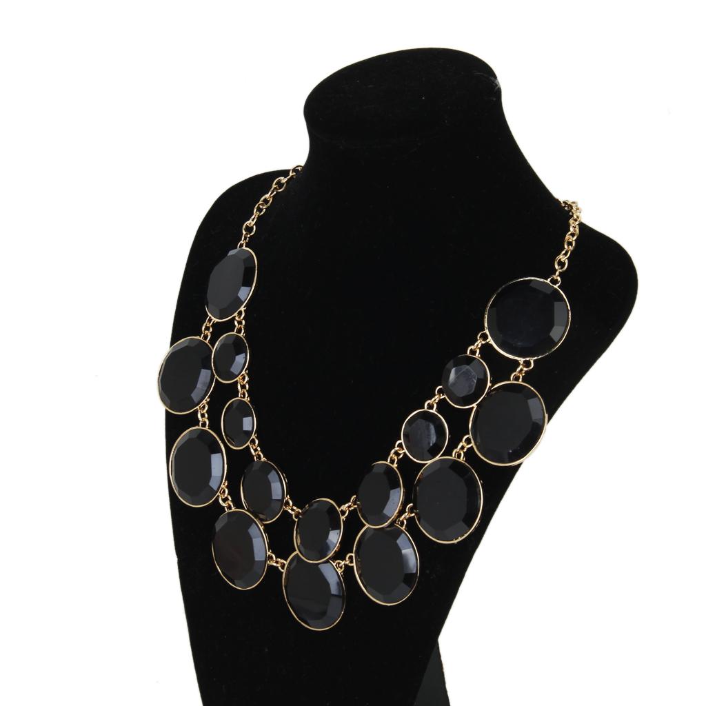 Women Cycle Double Layer Water Drop Bubble Bib Statement Collar Chain Choker Necklace Black