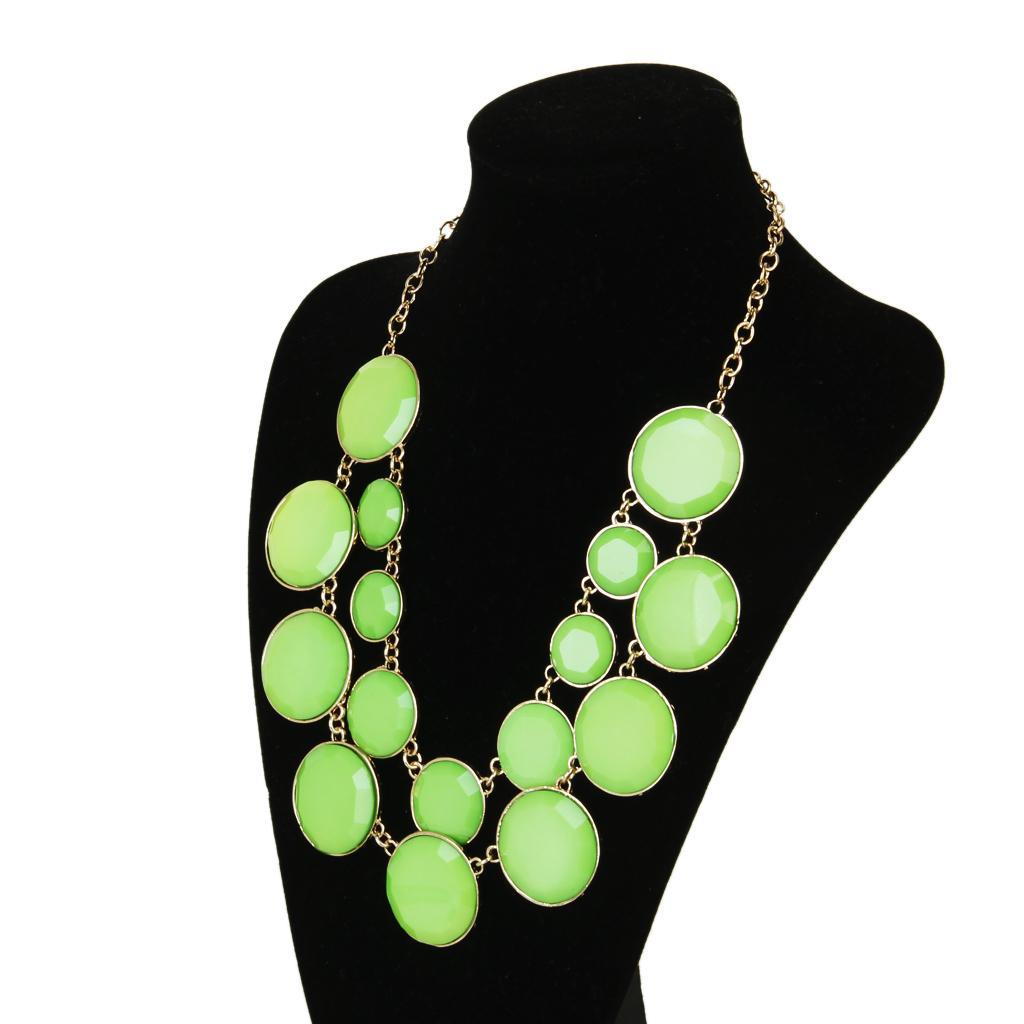 Women Cycle Double Layer Water Drop Bubble Bib Statement Collar Chain Choker Necklace Green