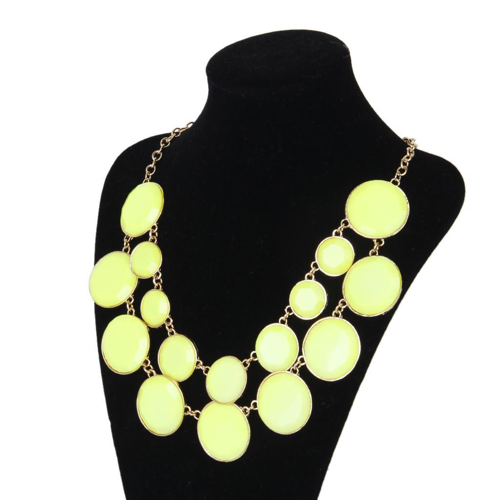 Women Cycle Double Layer Water Drop Bubble Bib Statement Collar Chain Choker Necklace Yellow