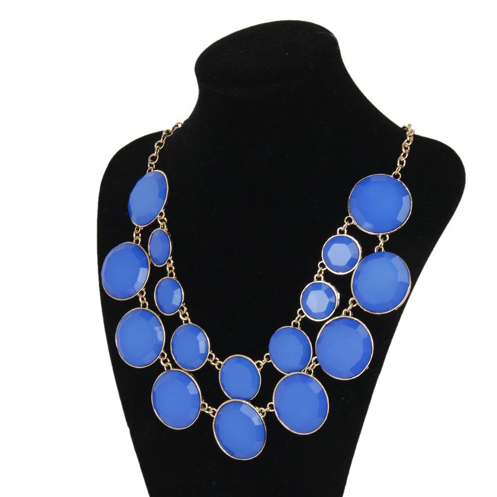Women Cycle Double Layer Water Drop Bubble Bib Statement Collar Chain Choker Necklace Blue