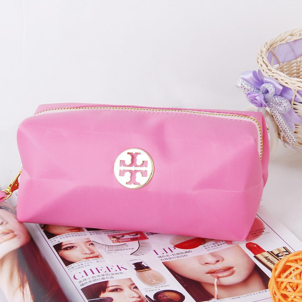 Waterproof Candy Color Zipper Cosmetic Handbag Case Makeup Bags Accessory Storage Pink