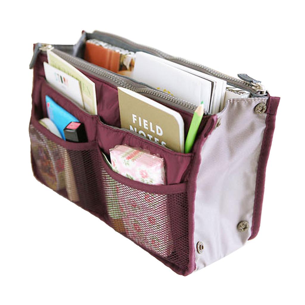 Womens Travel Insert Handbag Organiser Purse Large Liner Organizer Tidy Cosmetic Bag -Wine red