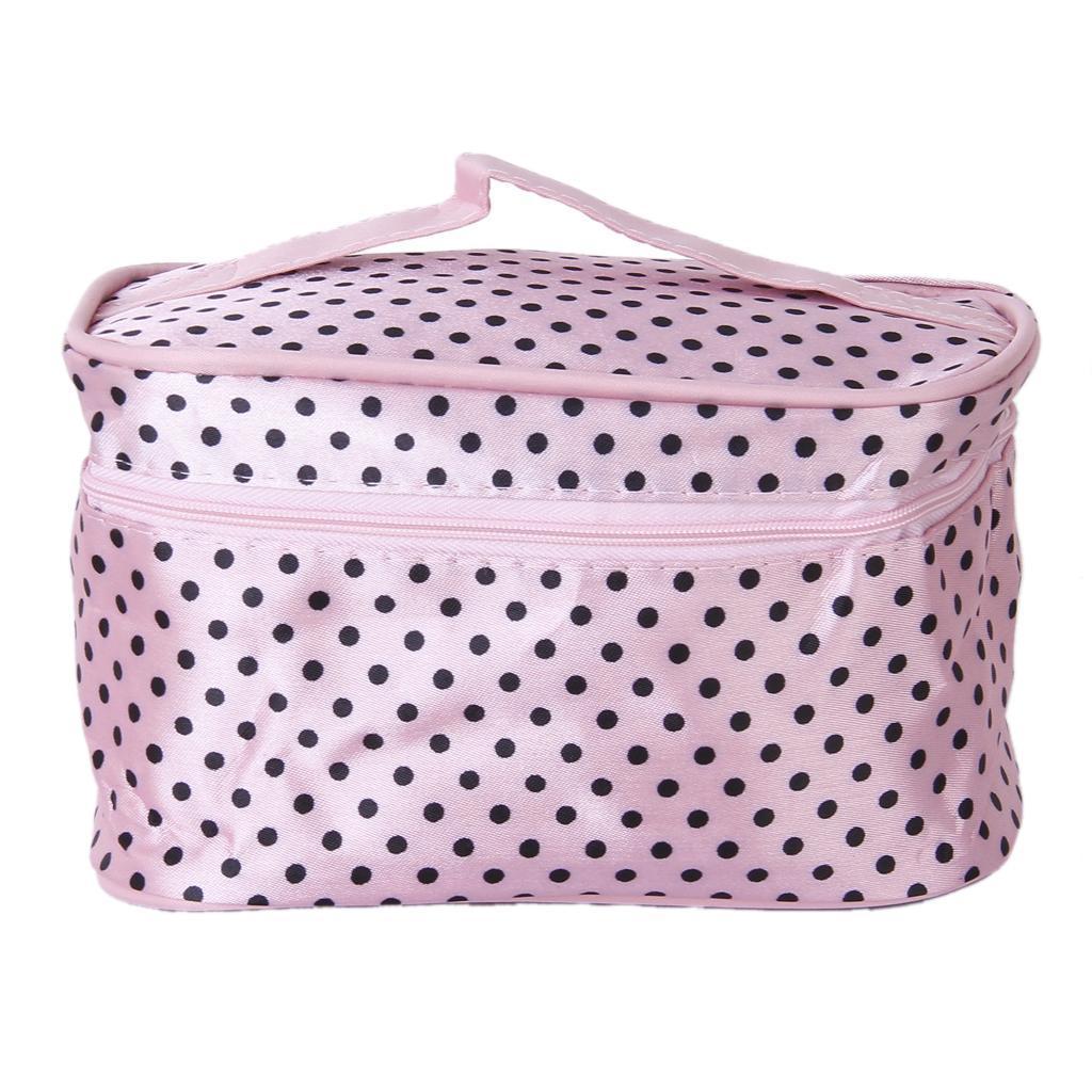Pink Black Dot Zipper Cosmetic Bag Toiletry Bag Make-up Bag Hand Case Bag