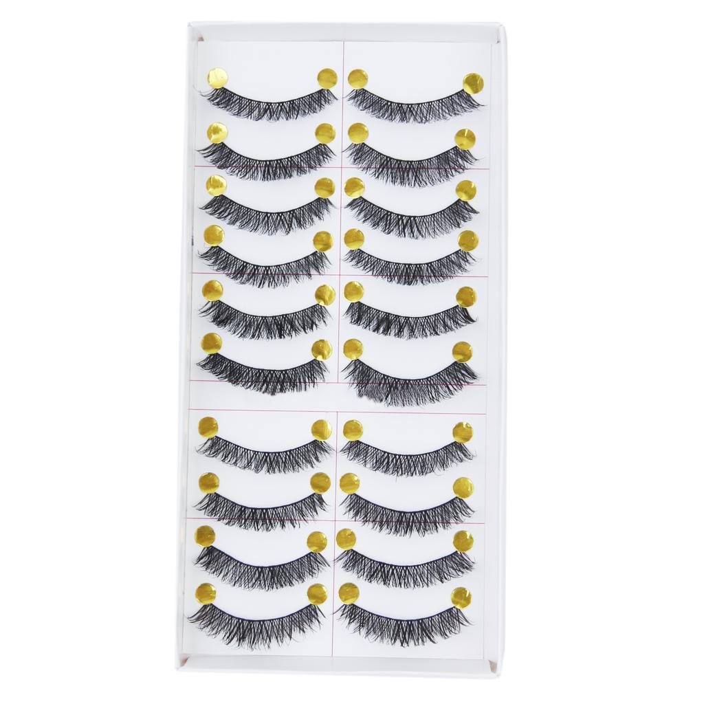 10 Pairs Handmade Natural Long Thick False Eyelashes Eye Lashes Extension Make up
