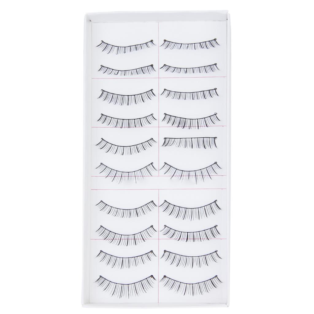 10 Pairs Handmade Natural Long False Eyelashes Sparse Eye Lashes Make up