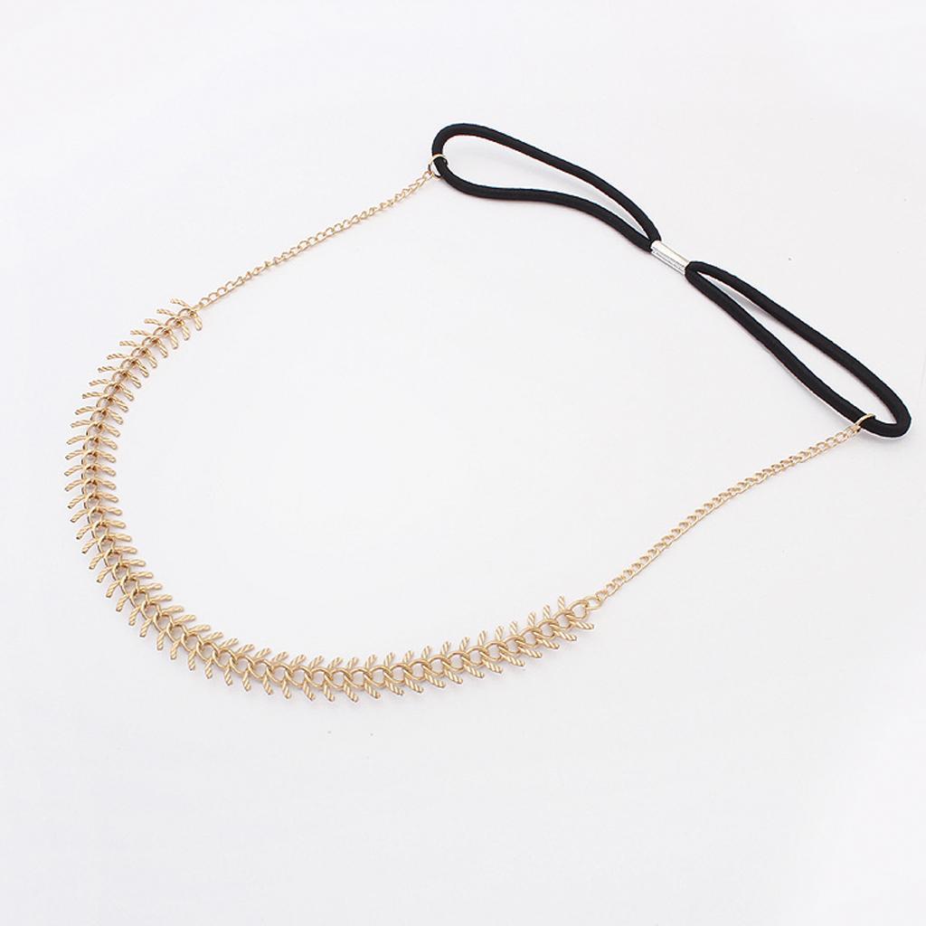 Women's Fringe Punk Alloy Fishbone Head Chain Hair Ribbon Hair Band Wedding Party Accessory Gold
