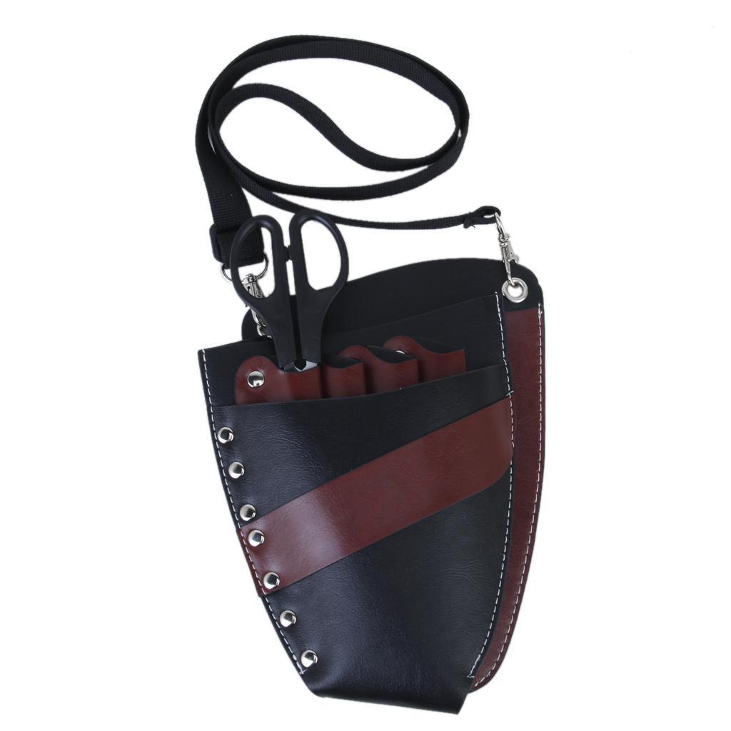Black PU Leather Rivet Scissors Clips Bag Hairdressing Holster Pouch Holder Case Mobile