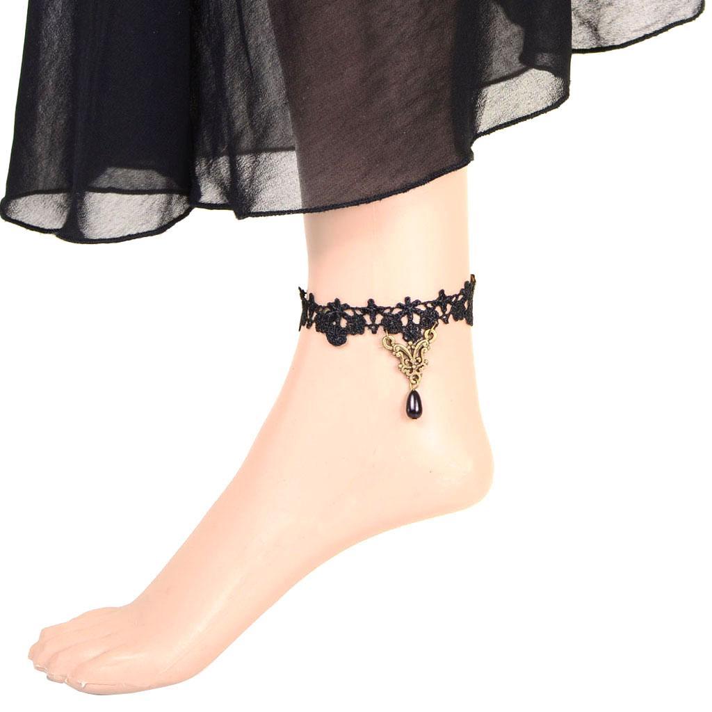 Vintage Retro Style Women's Black Lace Floral Anklets Ankle Foot Bracelet