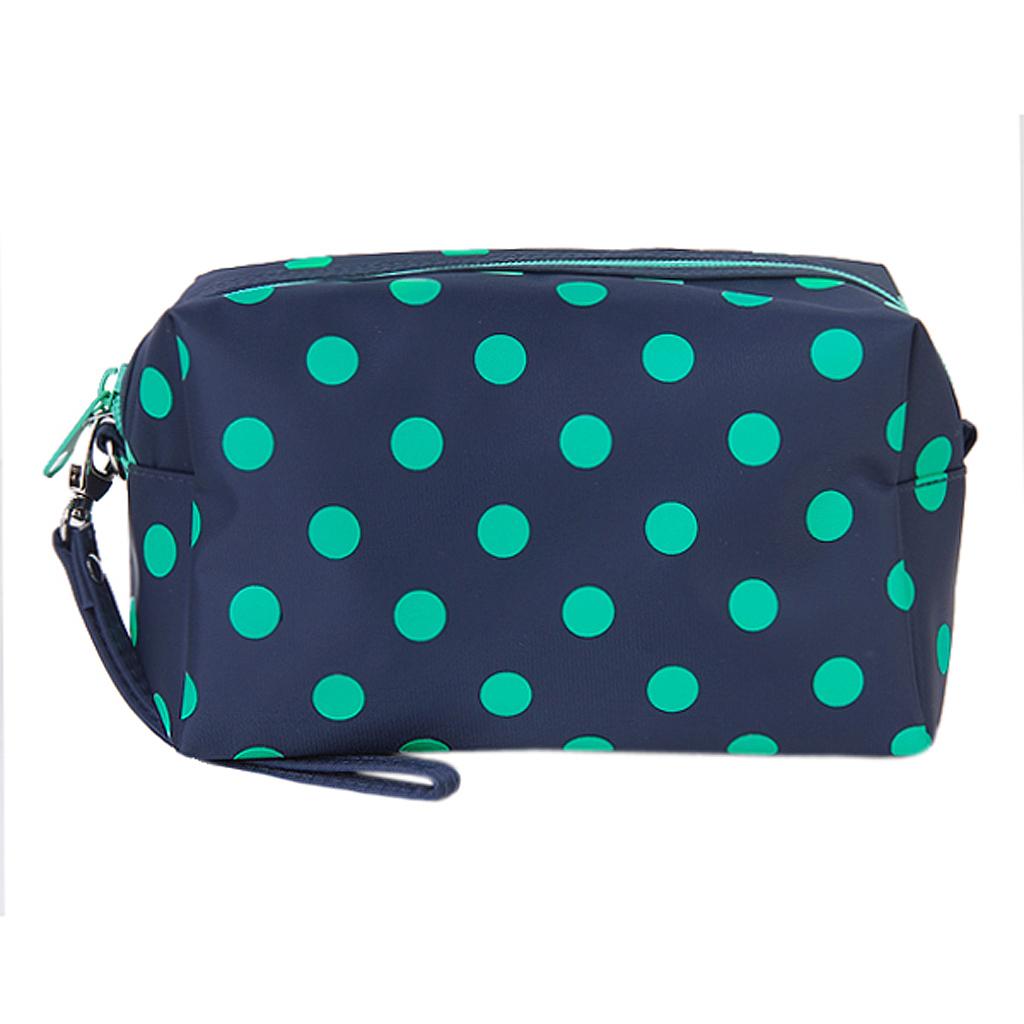 Deep Blue Green Polka Dots Zipper Cosmetic Make-up Organizer Bag Hand Case Pouch