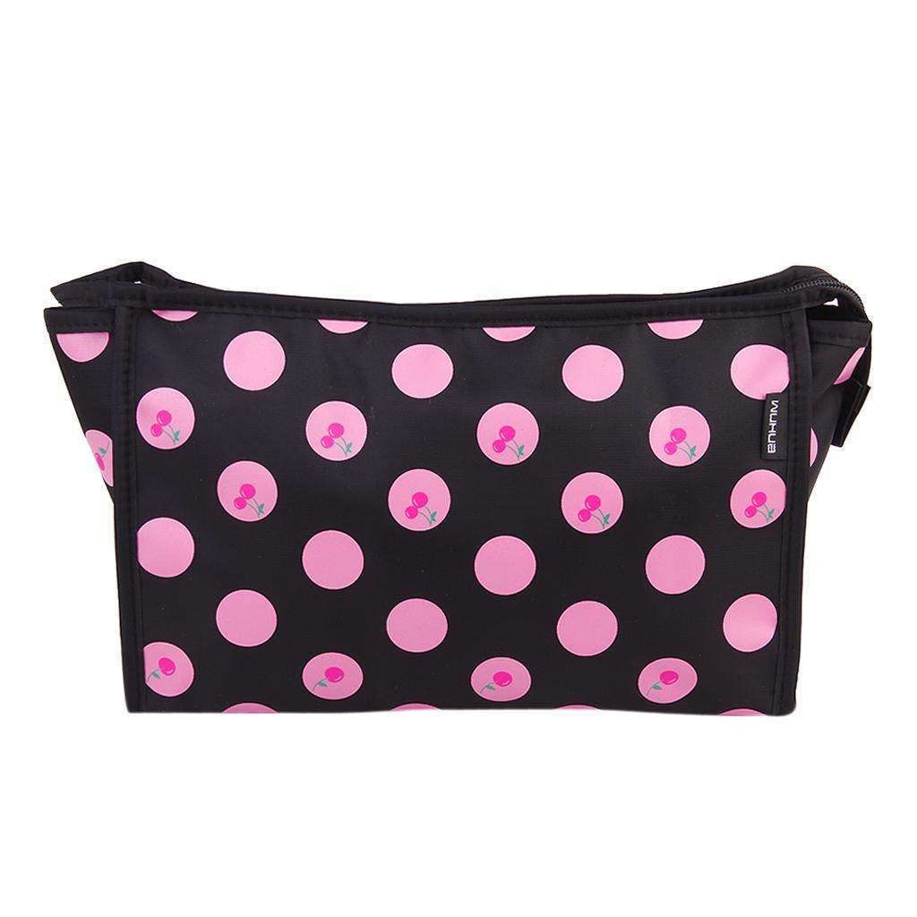 Women's Travel Toiletry Wash Organizer Case Cosmetic Makeup Hand Bag Case- Black