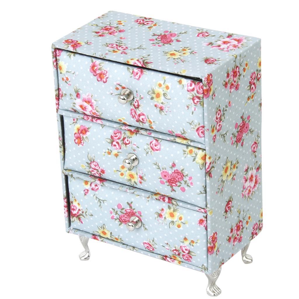 Cupboard Closet Princess Doll house Miniature Furniture Jewelry Display Case Box Organizer Chest Cabinet