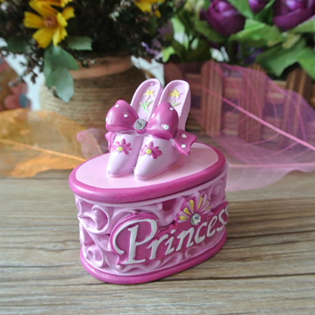 Resin Princess Shoe Earring Ring Ear Stud Bracelet Storage Case Jewelry Box Pink