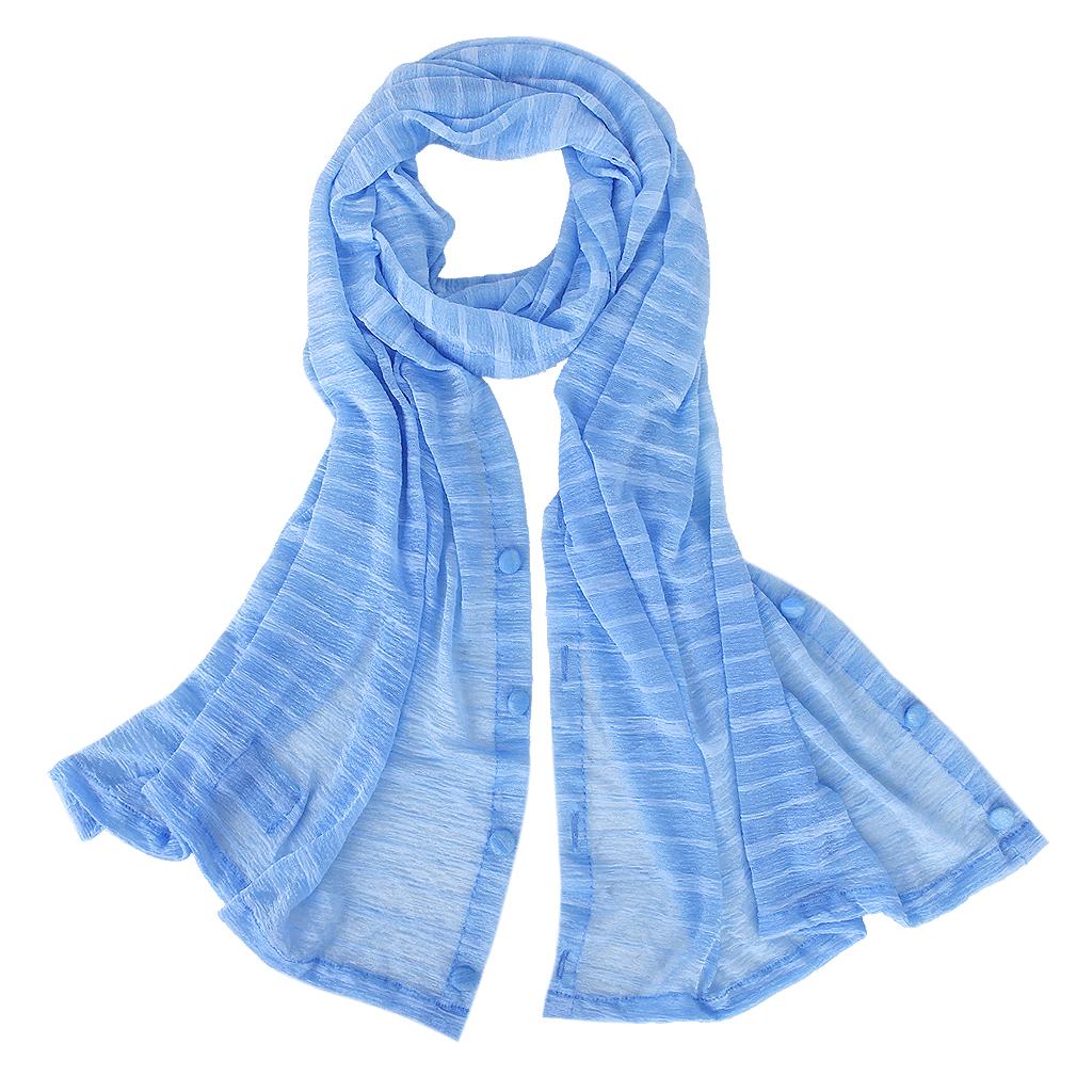 Woman Sun UV Protection Long Chiffon Pashmina Wrap Scarf Stole Shawl Blue