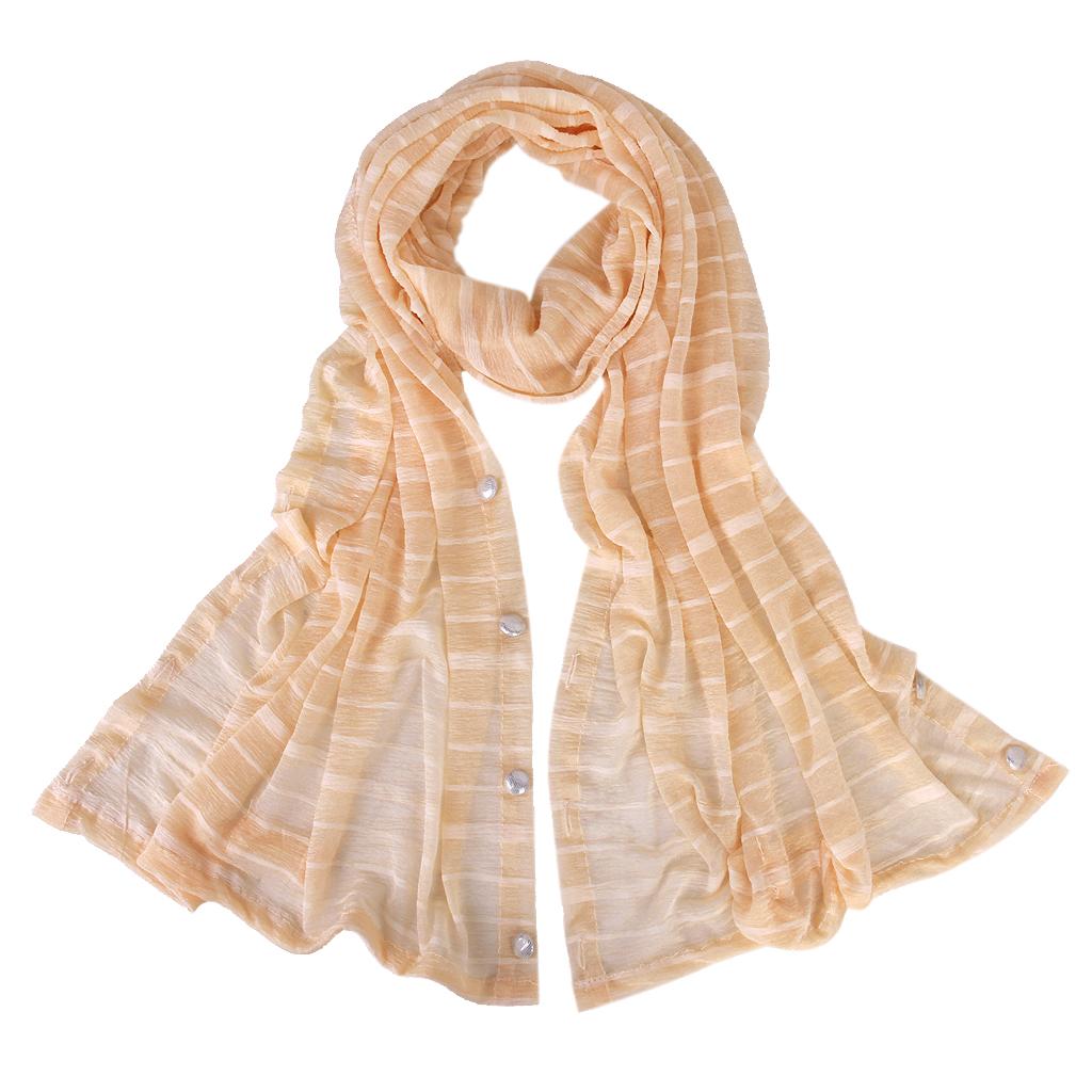 Woman Sun UV Protection Long Chiffon Pashmina Wrap Scarf Stole Shawl Nude