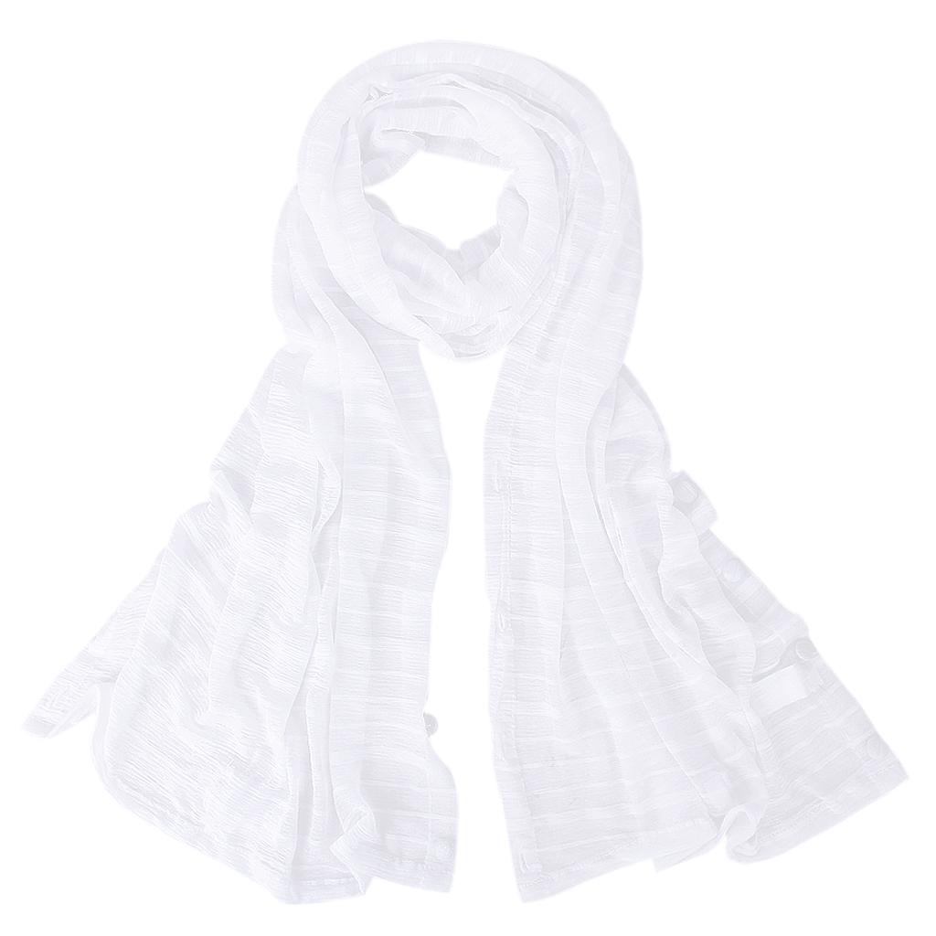 Woman Sun UV Protection Long Chiffon Pashmina Wrap Scarf Stole Shawl White
