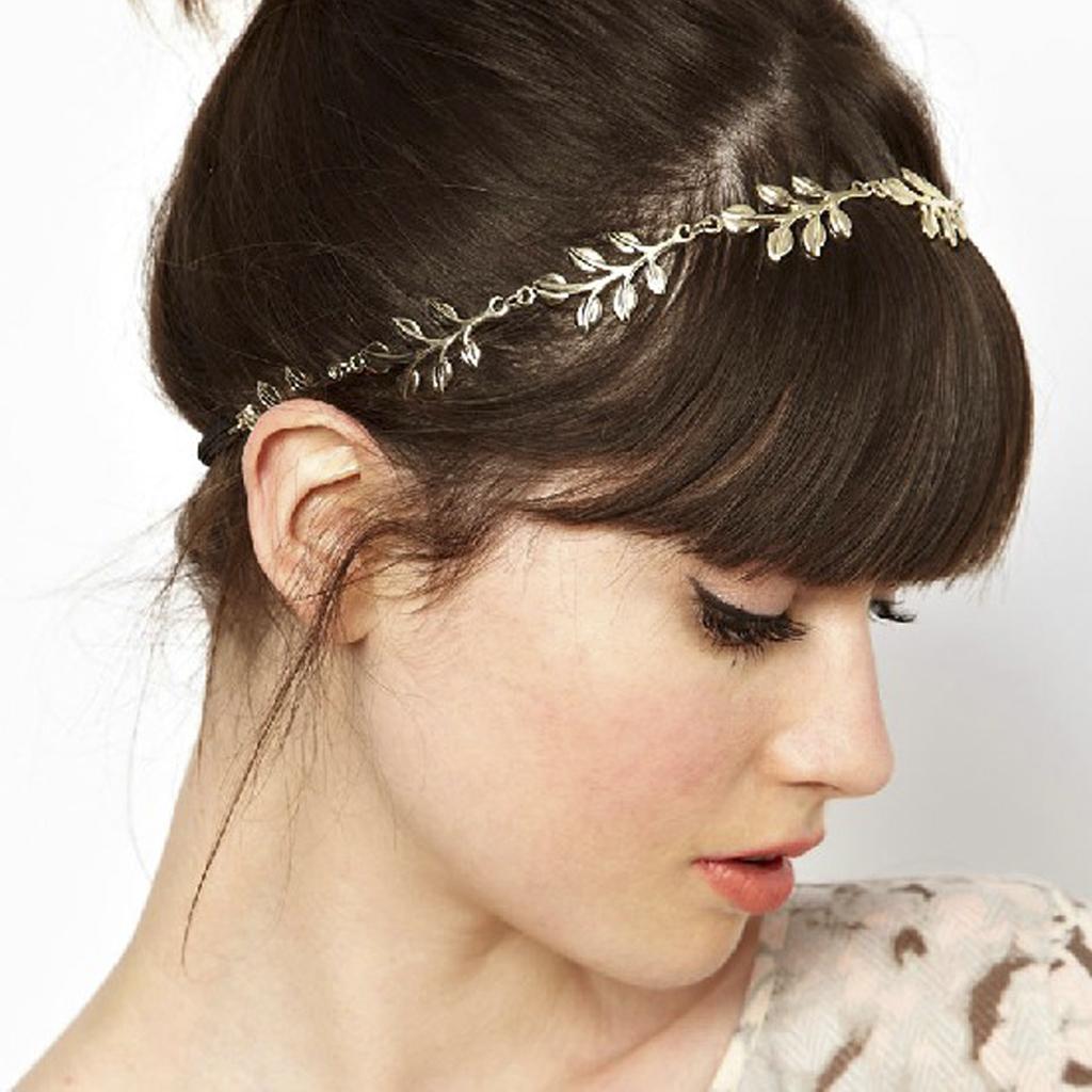 Gold Metal Elegant Olive Leaves Headwrap Headband