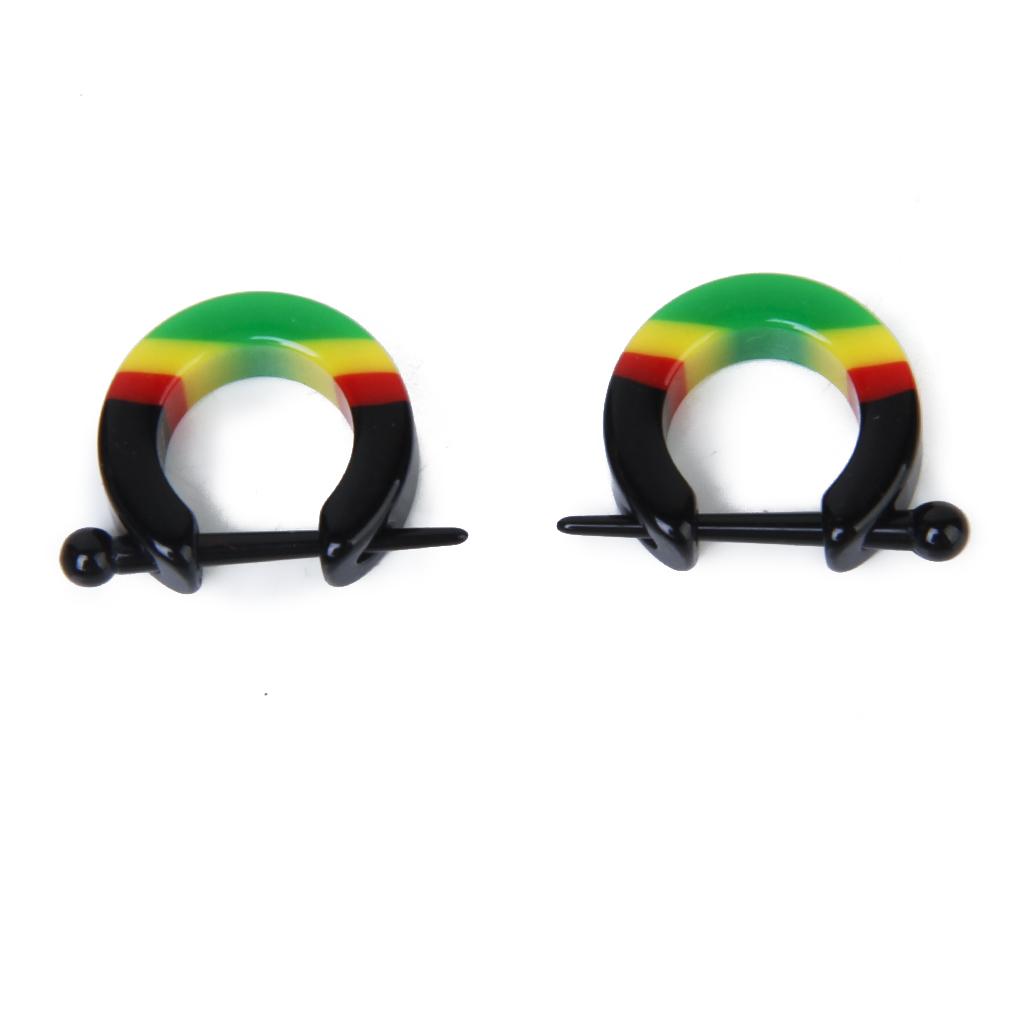 Pair Acrylic Hoop Huggie Earrings Nose Nipple Lip Rings Body Piercing Jewelry