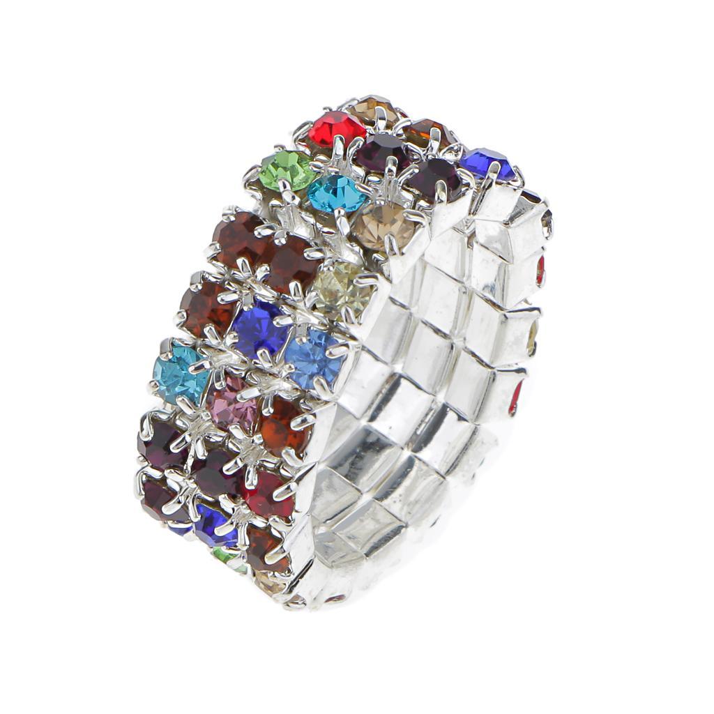 Elastic Multicolor 3 Row Crystal Rhinestone Toe Ring Bridal Jewelry 9mm
