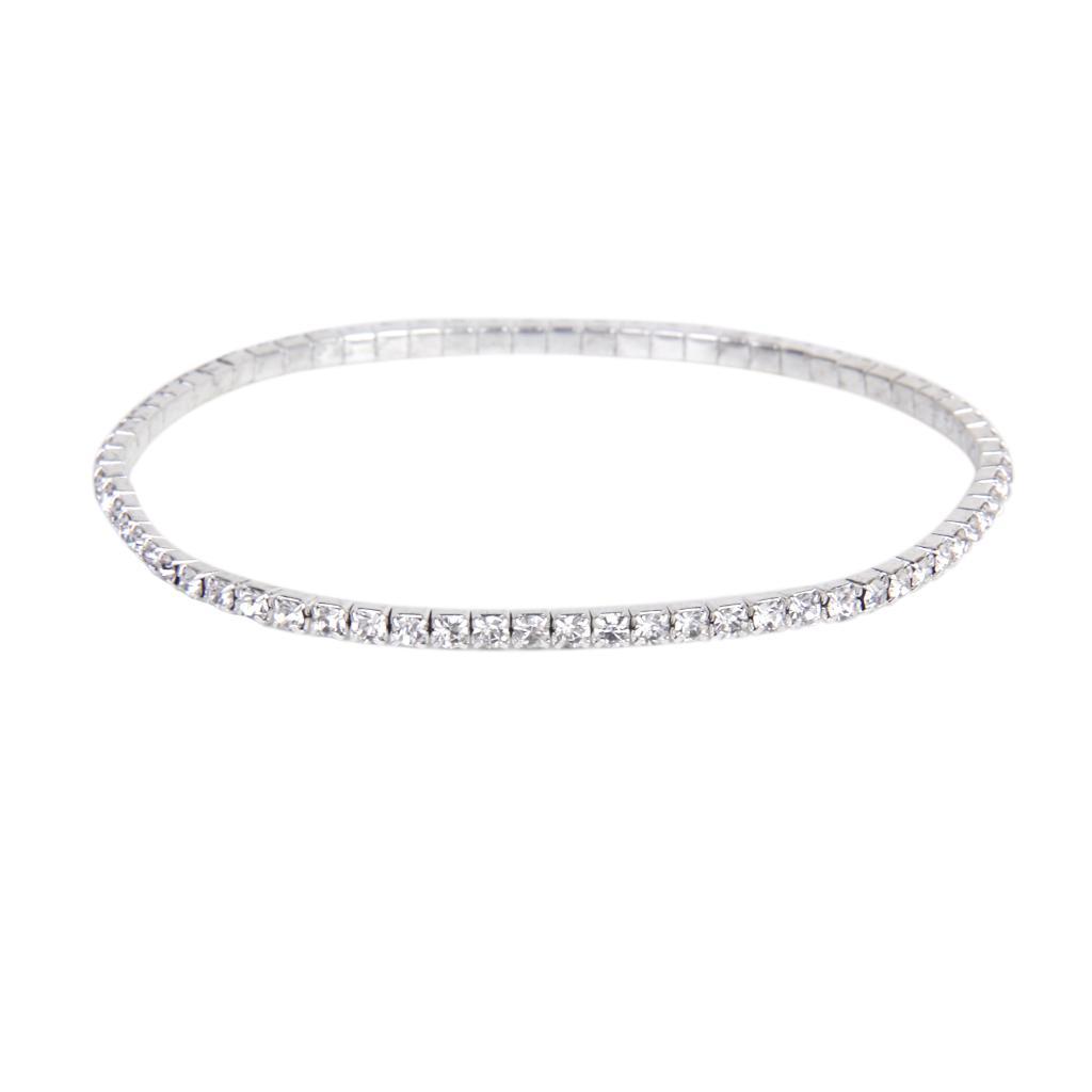 Fashion Silver Tone Crystal Rhinestone Ankle Anklet Bracelet Single Row Elastic