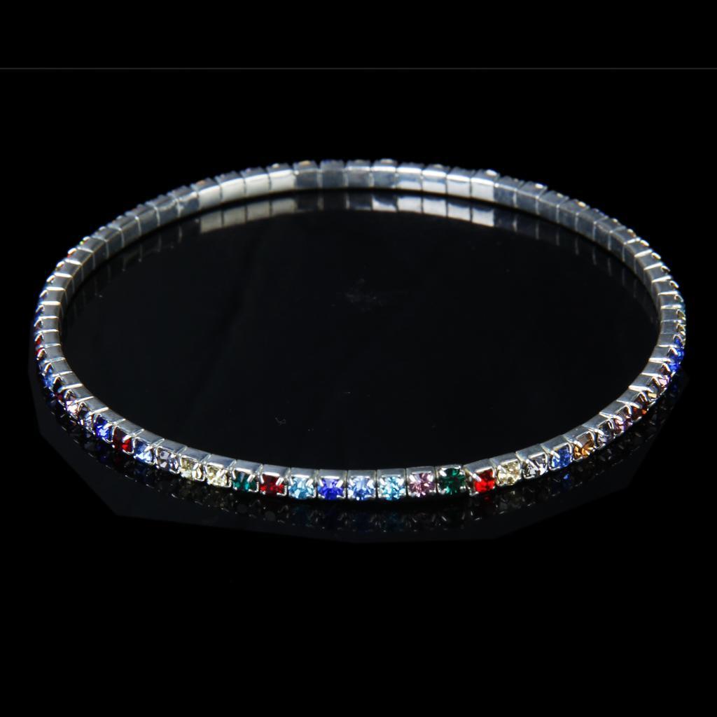 Fashion Multicolor Crystal Rhinestone Single Row Stretch Elastic Ankle Anklet Bracelet