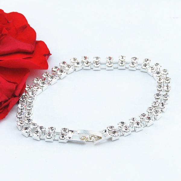 Fashion Women's Wedding Bridal 2 Row Clear Crystal Rhinestone Bangle Bracelet