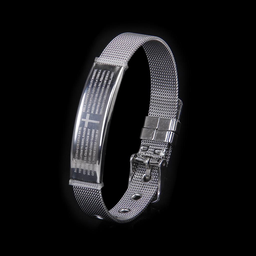 Men's Stainless Steel Silver Cross Prayer Cuff Bracelet Bangle Adjustable