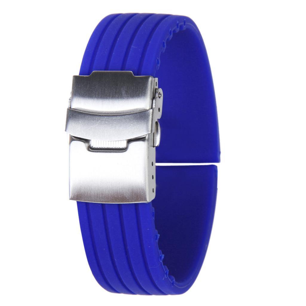 Blue Rubber Watch Strap Band Deployment Buckle Waterproof 20mm