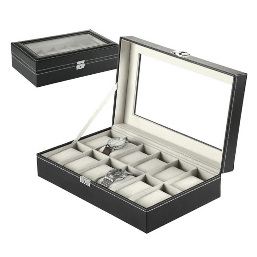 Black Leather 12 Slots Grid Watch Waistwatch Jewelry Display Storage Showcase Box Organizer Large Glass Top Lockable