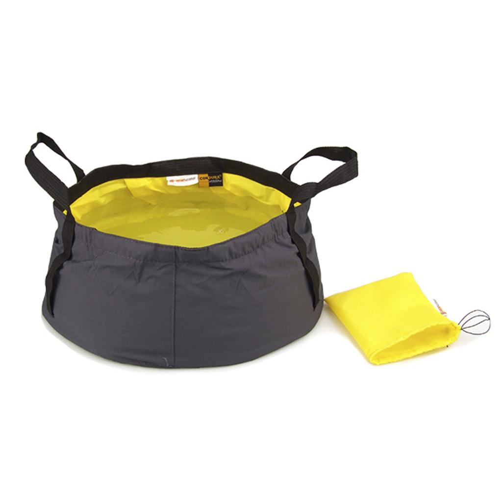 12L Outdoor Camping Folding Wash basin Bucket Travel Bag Yellow