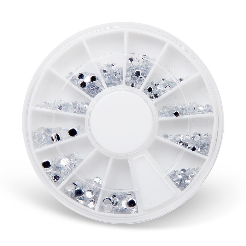 700pcs Nail Art Tips Clear Crystal Glitter Rhinestone Decoration with wheel 1.5mm, 2mm, 3mm