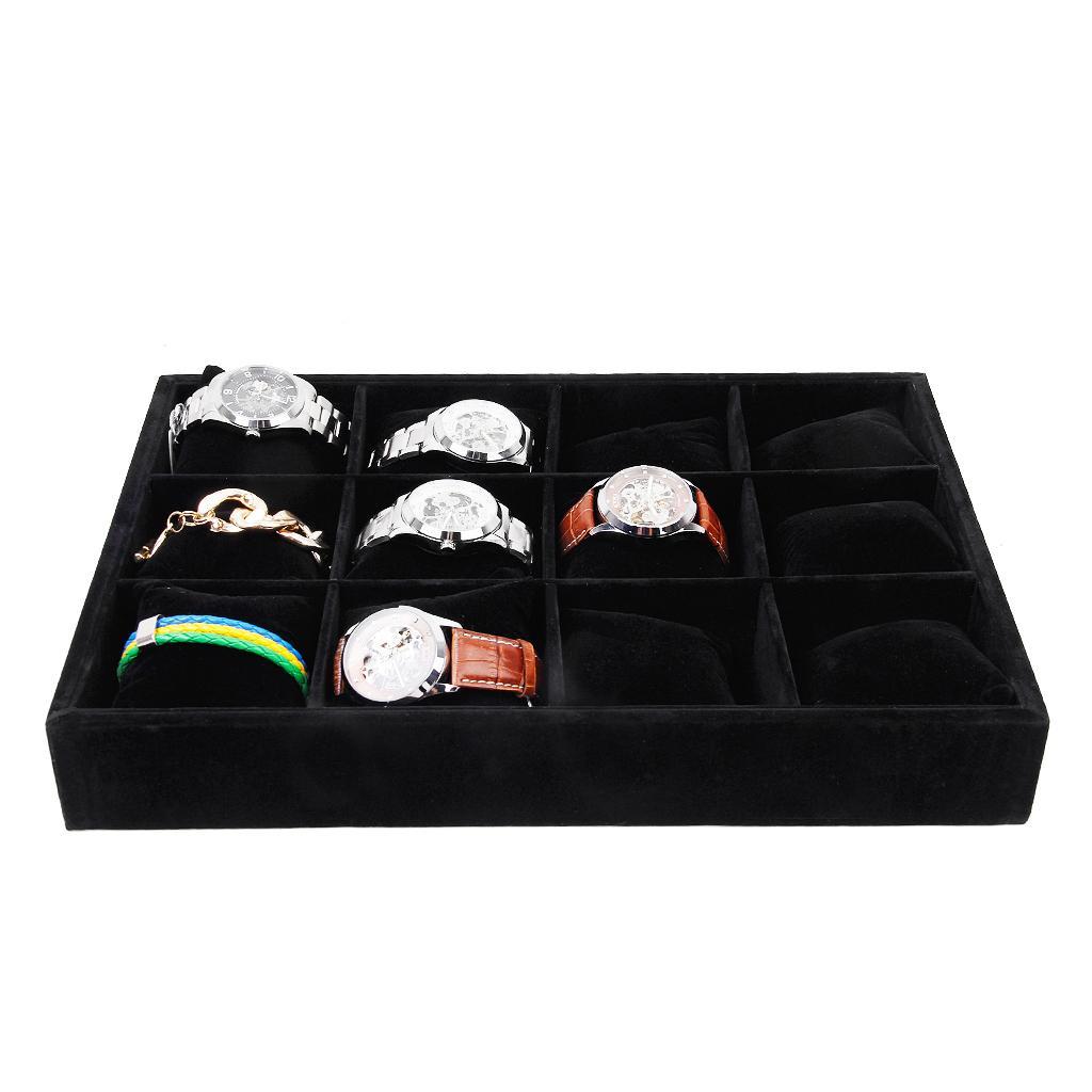 Black 12-Grid Watch Bracelet Display Storage Tray Case Holder Organizer with Pillow