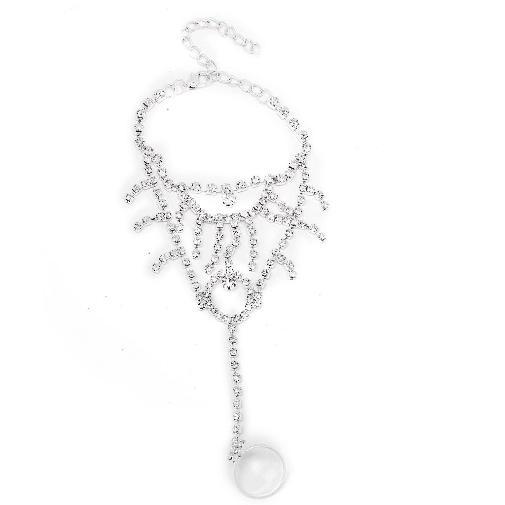Bridal Wedding Silver Crystal Harness Slave Bracelet Wristband & Ring Cuff  A03