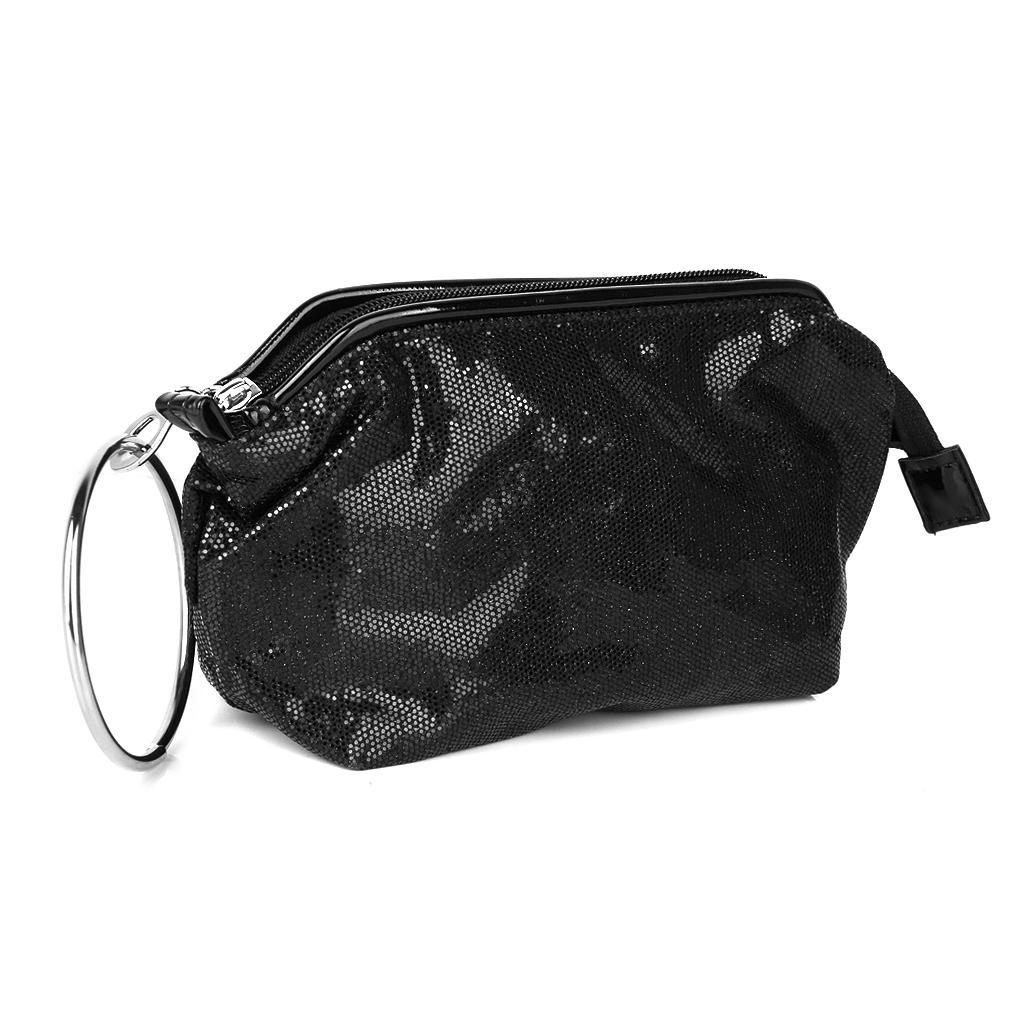 1pc Dazzling Sequins Travel Cosmetics Makeup Bag Evening Party Handbag Black