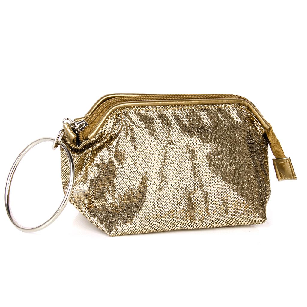 Dazzling Sequins Travel Cosmetic Makeup Clutch Bag Purse Evening Party Handbag - Antique Bronze