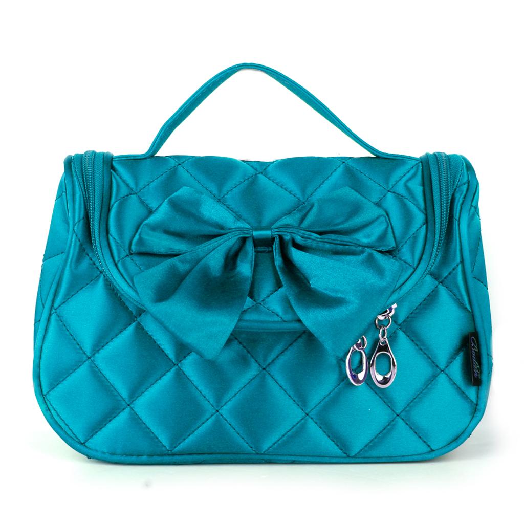 Lake Green Diamond Check Makeup Cosmetic Beauty Case Toiletry Bag Travel Handbag Organizer