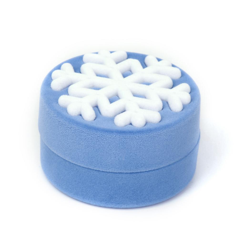 Velvet Necklace Jewelry Display Storage Box Gift Case Holder Organizer - Sky Blue Snowflake