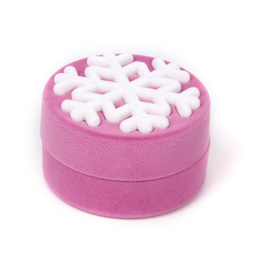 Velvet Necklace Jewelry Display Storage Box Gift Case Holder Organizer - Pink Snowflake