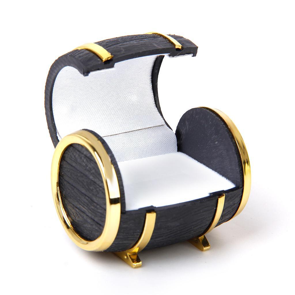 Velvet Ring Earring Jewelry Display Storage Box Gift Case Holder Organizer - Gold Black Beer Barrel Shape