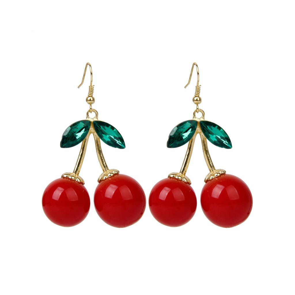 1 Pair Women Fashion Cherry Rhinestone Drop Dangles Ear Studs Earrings