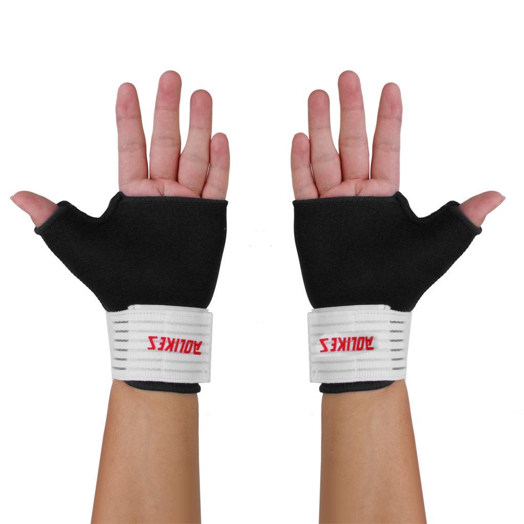 Pair Elastic Thumb Wrap Wrist Hand Palm Splint Support Sport Gloves Brace Gym Black L