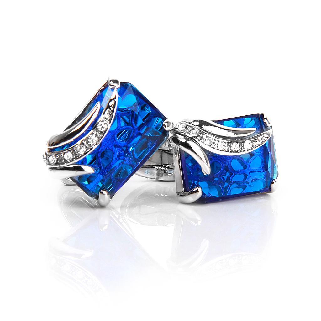 Men's Rectangle Blue Crystal Cufflinks Shirt Cuff Links Wedding Party Groom Gift