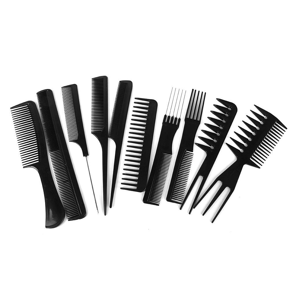 Pro 10pcs Salon Hair Styling Comb Set Hairdressing Hairdresser Barbers Brush Black