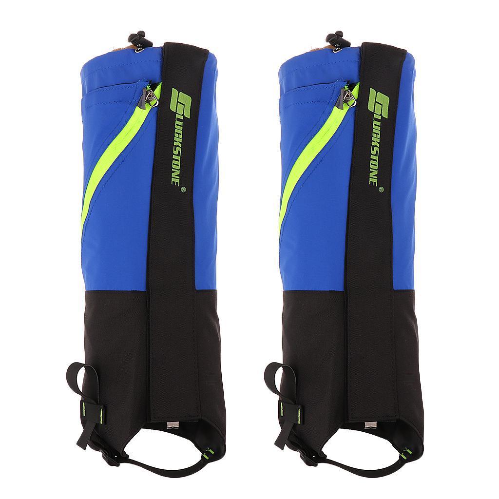 1 Pair Waterproof Snow Legging Boot Gaiters Leg Covers Rugged Outdoor Walking Hiking Climbing - Deep Blue Grey