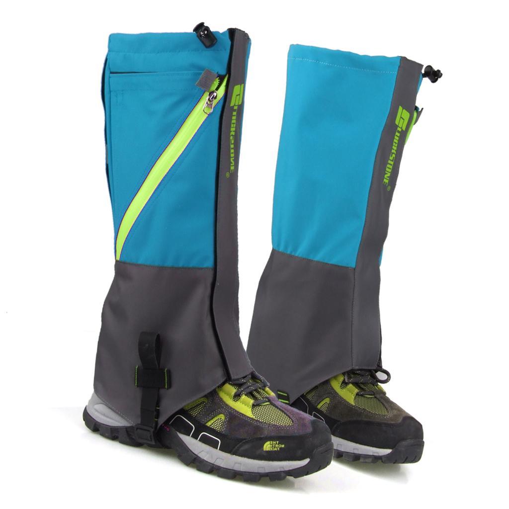 1 Pair Waterproof Snow Legging Boot Gaiters Leg Covers Rugged Outdoor Walking Hiking Climbing - Sky Blue Grey