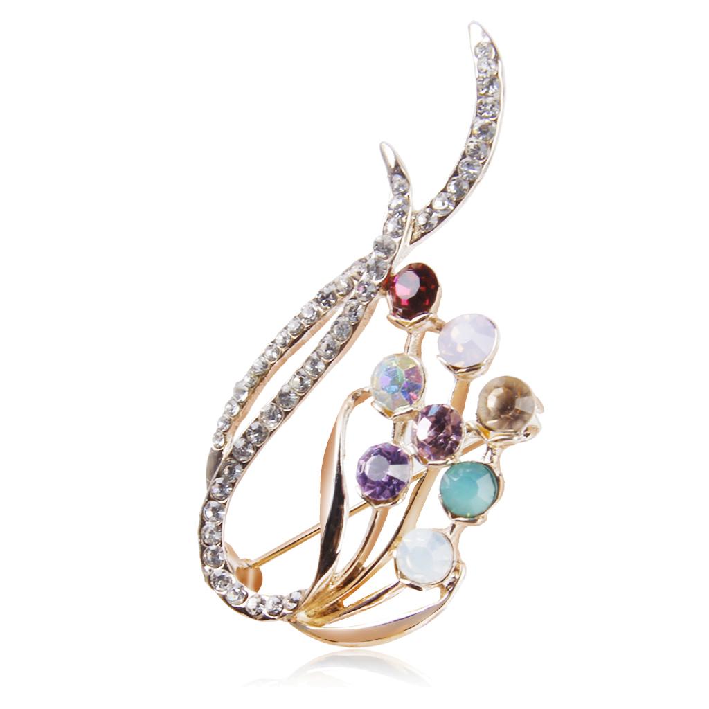 Elegant Bouquet Flower Design Pin Brooch with Rhinestone Gift Wedding