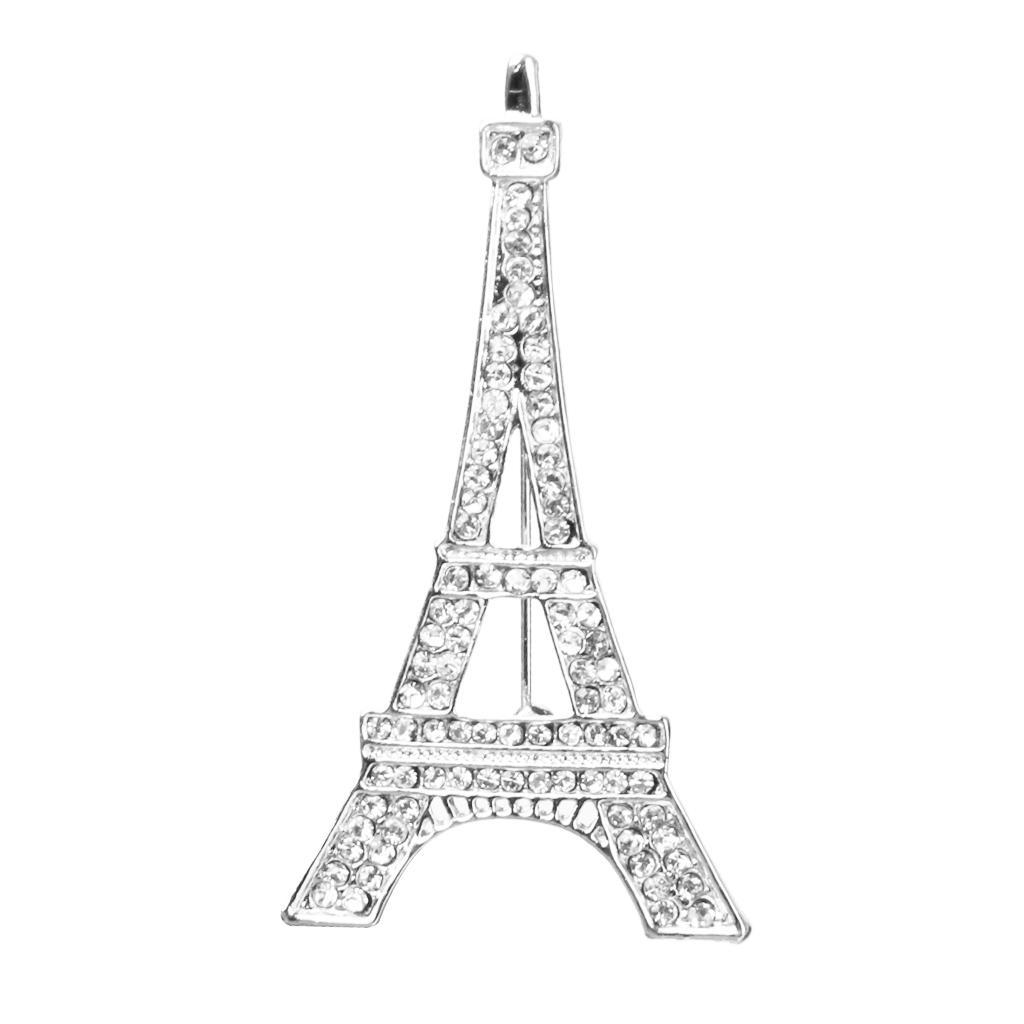 Romantic Eiffel Tower Design Pin Brooch with Rhinestone Gift/Wedding/Scarf