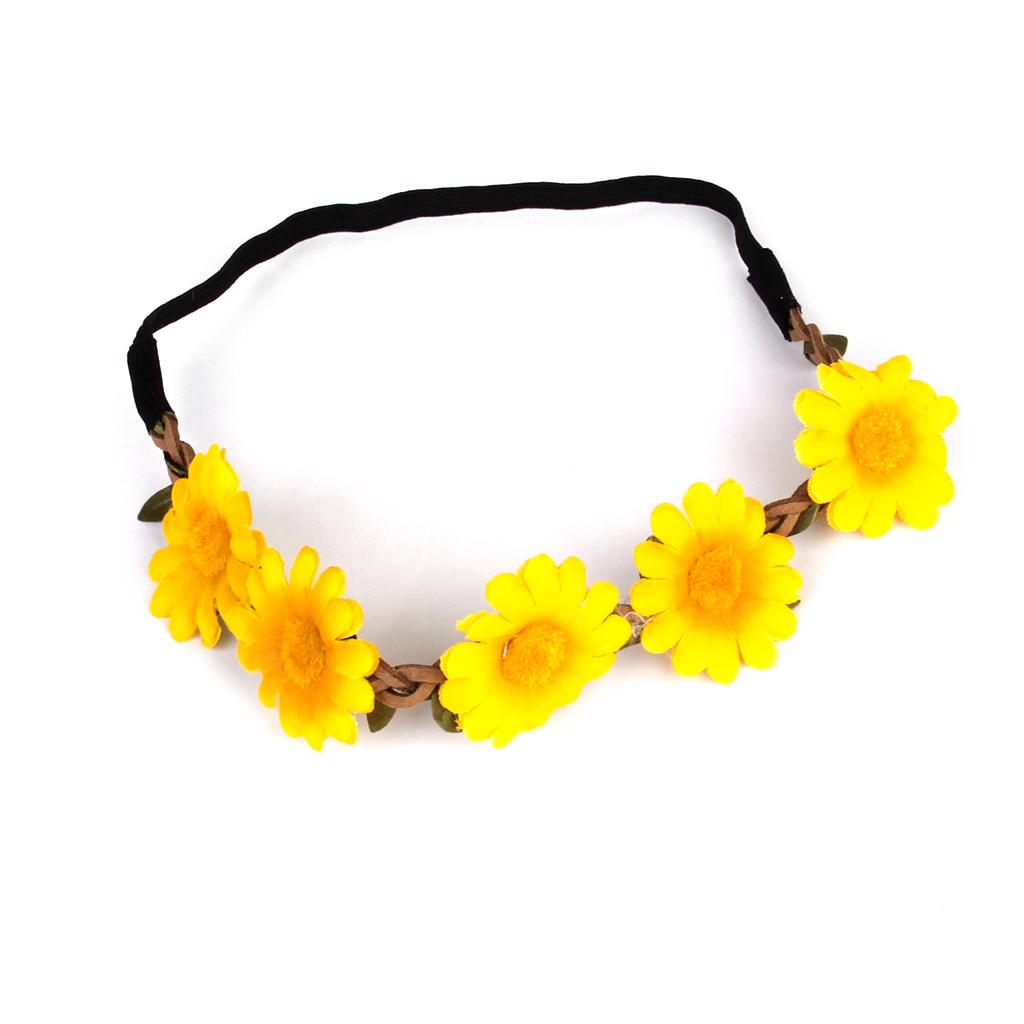 Weave Elastic Hairband Flower Headband Daisy Chain for Party Yellow
